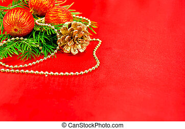 Christmas frame with red spheres