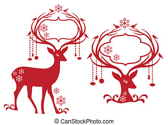 christmas frame with reindeer