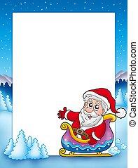 Christmas frame with Santa on sledge - color illustration.