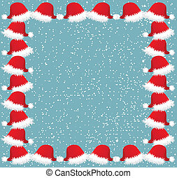 Christmas frame with snow and caps - Blue frame for...