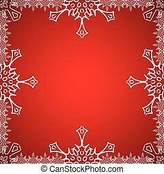Christmas frame with snowflakes on the edge - Christmas...