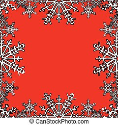 Christmas frame with snowflakes on the edge