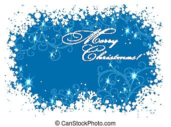 Christmas frame with snowflakes over blue background