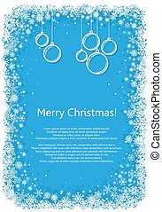 Christmas frame with snowflakes over blue background.