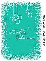 Christmas frame with snowflakes over green background.