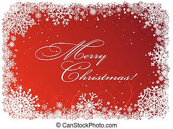 Christmas frame with snowflakes over red background