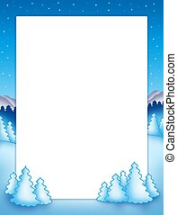 Christmas frame with snowy trees - color illustration.