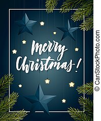 Christmas frame with spruce branches, decorative stars, light bulbs and hand-lettering. Vector festive background.