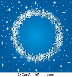 Christmas frame with white snowflakes on blue background.