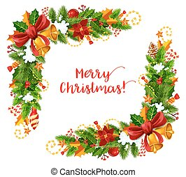 Christmas frame with Xmas garland greeting card