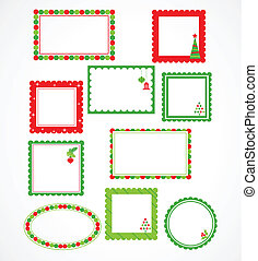 Christmas frames and labales - Xmas vector stickers and ...