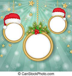 Christmas frames over snowflakes