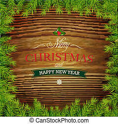 Christmas Framework With Wood Background