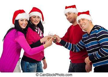 Christmas friends toasting with champagne