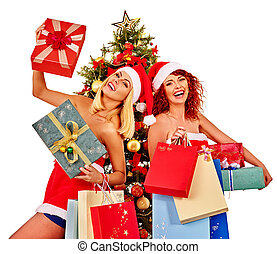 Christmas friends women with shopping bag and gift box.