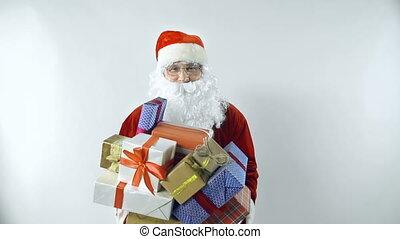 Christmas Frolic - Close up of Santa throwing heap of gift...