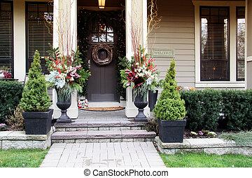 Christmas front door - Front door with a Christmas wreath ...