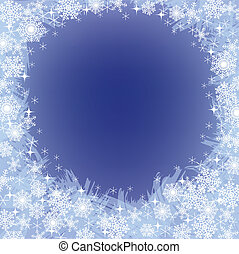 christmas frozen background with snowflakes