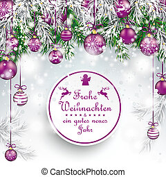 Christmas Frozen Green Twigs Purple Baubles Frohe Weihnachten