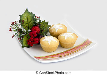 Christmas Fruit Mince Pies on a Plate with Decorations - Isolated