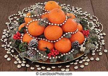 Christmas Fruit - Christmas orange fruit with gold beads and...