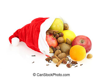 Christmas Fruits in Santa Claus hat