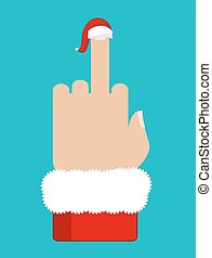 Christmas Fuck. Middle finger in red Santa hat. Aggressive symbol new year. Bad sign Dislike