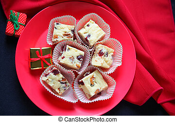 Christmas fudge with small gifts