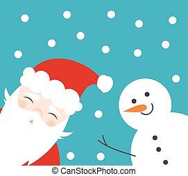 Christmas fun snowman and Santa claus