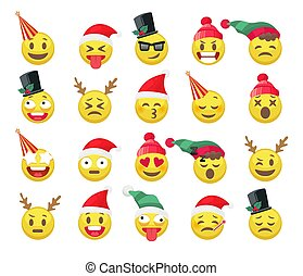 Christmas funny emoji. Cute holiday emotion yellow faces in hats or reindeers horns, positive smiley heads, xmas and new year festive sticker collection, chat icons cartoon vector set
