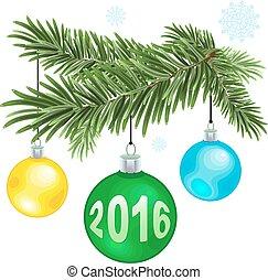 Christmas fur-tree branch with Christmas balls. Illustration...