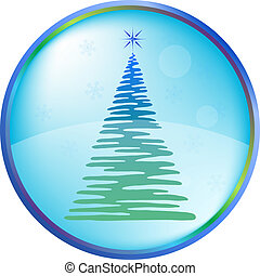 Christmas fur-tree buttons - Christmas button icon, vector...