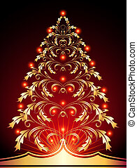 Christmas golden fur-tree with red lights