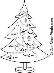 Christmas fur-tree, contours - Christmas fur-tree with toys ...