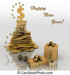 Christmas fur-tree from coins. Wishes of successful business...