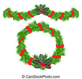 Christmas garland and a wreath with holly berries