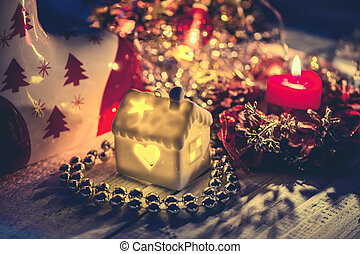 Christmas garland background Christmas house. Christmas decorations with candles