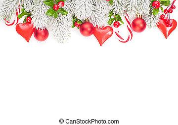Christmas garland border on white background