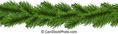 Christmas garland - Christmas fir tree garland isolated on...