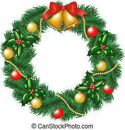 Christmas garland with bells, bauble and holly berry