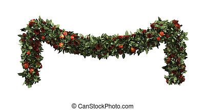 Christmas Garland Decoration isolated on white background....
