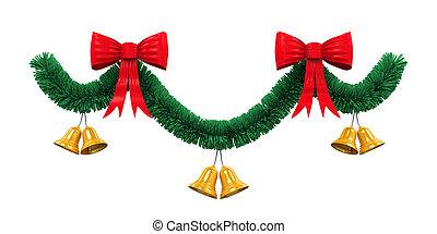 Christmas Garland Decoration isolated on white background....