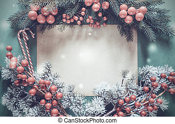 Christmas Garland, Fir Tree Branch, Snowflakes, Copy Space