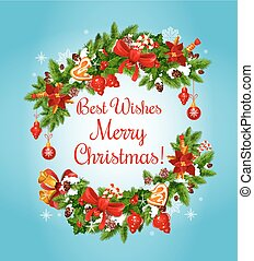 Christmas garland frame for New Year greeting card