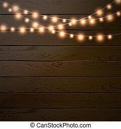 Christmas garland. Glowing Light bulbs. Vector xmas lights