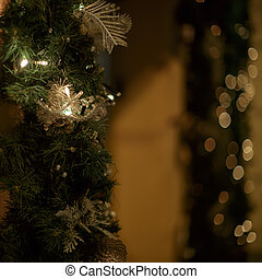 Christmas garland in a shop window