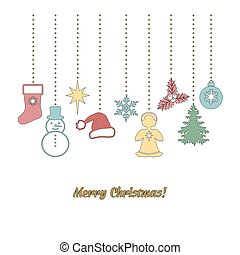 Christmas garland in doodle style