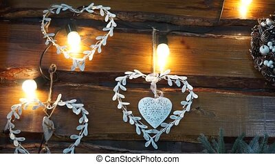 Christmas garland in the shape of hearts
