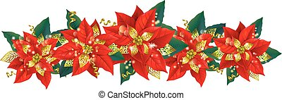 Christmas garland of poinsettia. Contains transparent...