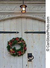 Christmas garland on door